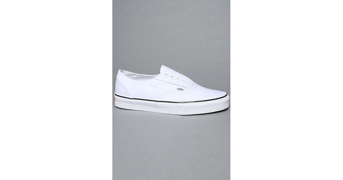 Lyst - Vans The Era Laceless Sneaker in True White   Black in White for Men e4afe17ec