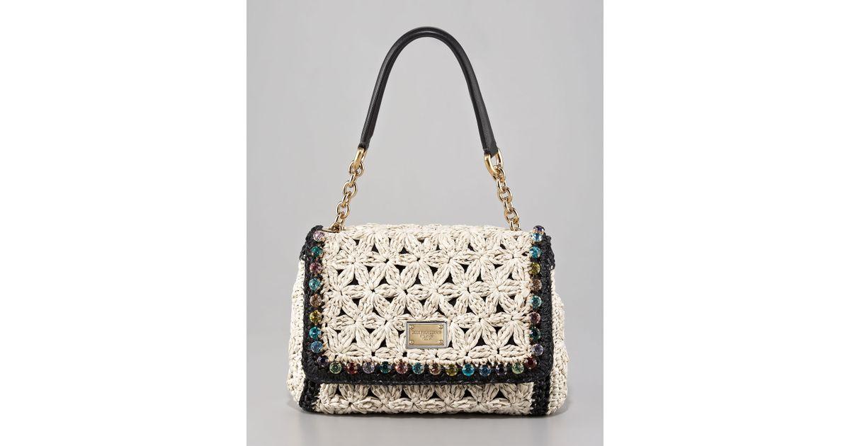 Dolce Gabbana Miss Charles Jeweled Crochet Shoulder Bag In White
