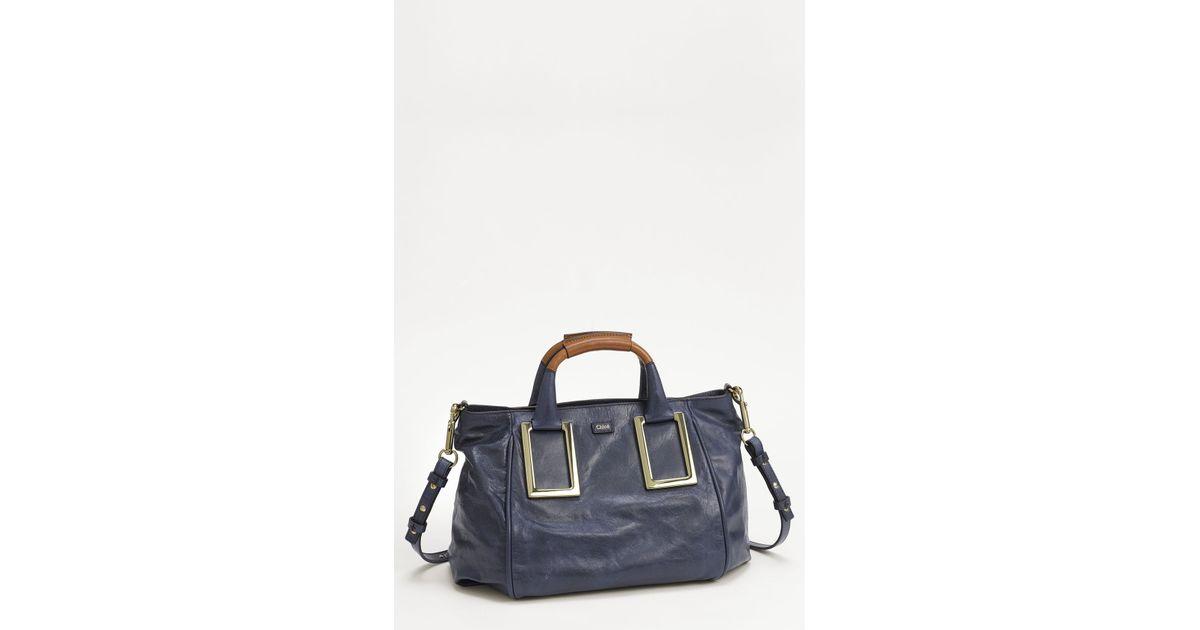 Chlo¨¦ Ethel Lambskin \u0026amp; Goatskin Leather Top Handle Satchel in Blue ...