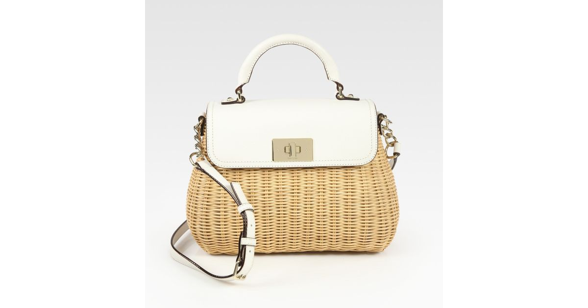 92e1663db28b Lyst - Kate Spade Little Nadine Wicker Leather Top Handle Bag in Natural