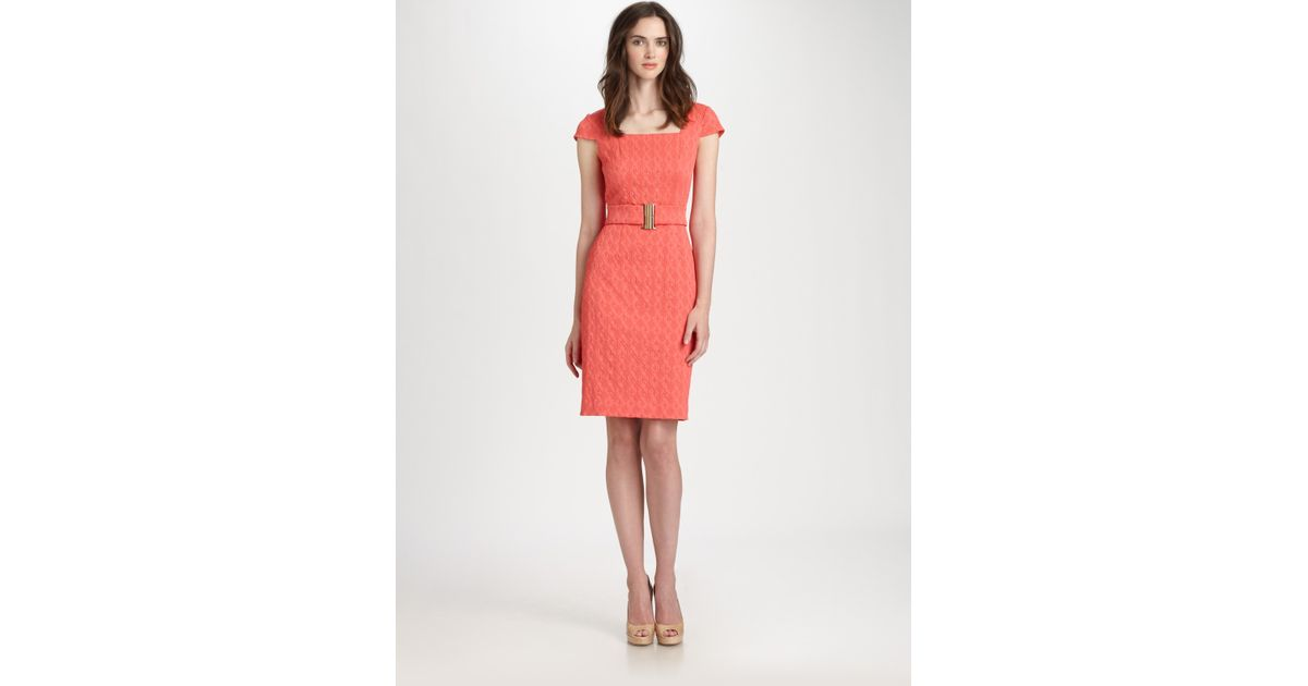 0166104275 Lyst - Kay Unger Belted Dress in Pink