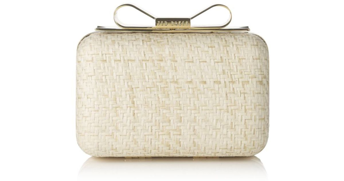 2f7d0b7bec627 Ted Baker Aber Bow Clutch in Natural - Lyst