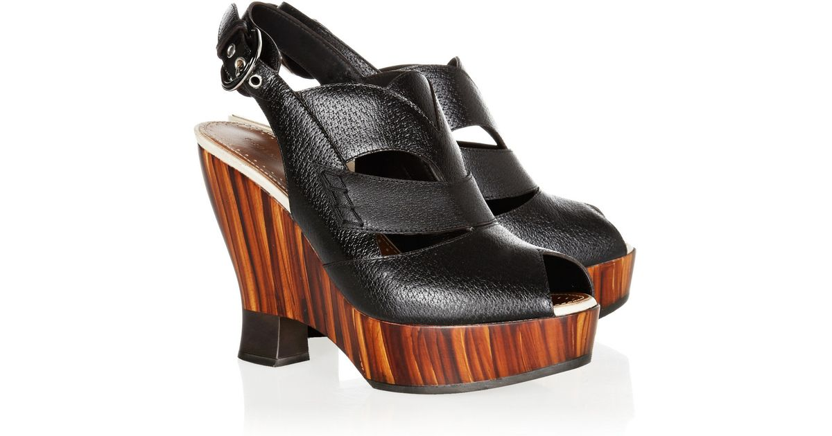 Proenza Sandals Cutout And Leather Black Wedge Schouler Wooden SzpUMV
