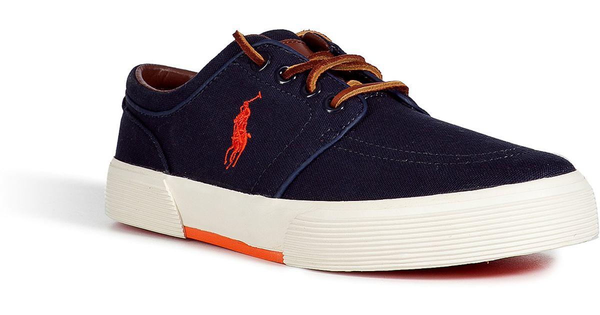 Navy Faxon Canvas Low Lauren Men Blue Sneakers For Polo Ralph A5Lq4R3j