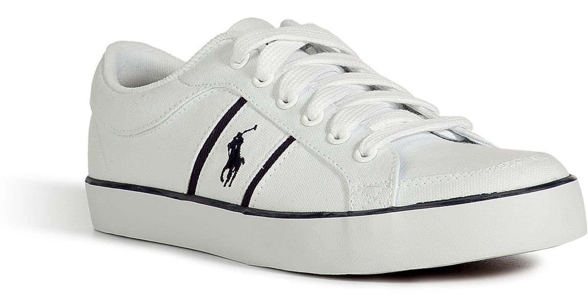 Canvas Men Polo Sneakers Lauren Bolingbrook Ralph Pure White For n0mNwy8vO