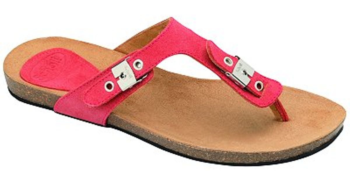 8716c26e1799 Scholl New Bimini Leather Buckle Toe Post Sandals Coral in Pink - Lyst