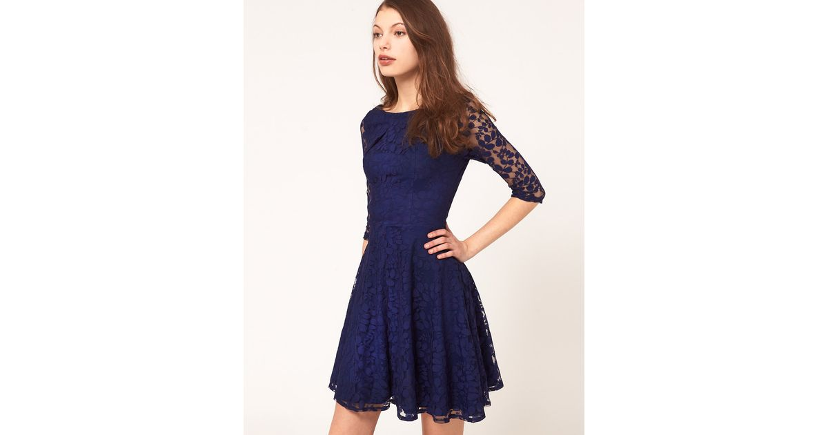 f5add1d56e57 Lyst - ASOS Lace Mini Dress With Skater Skirt in Blue