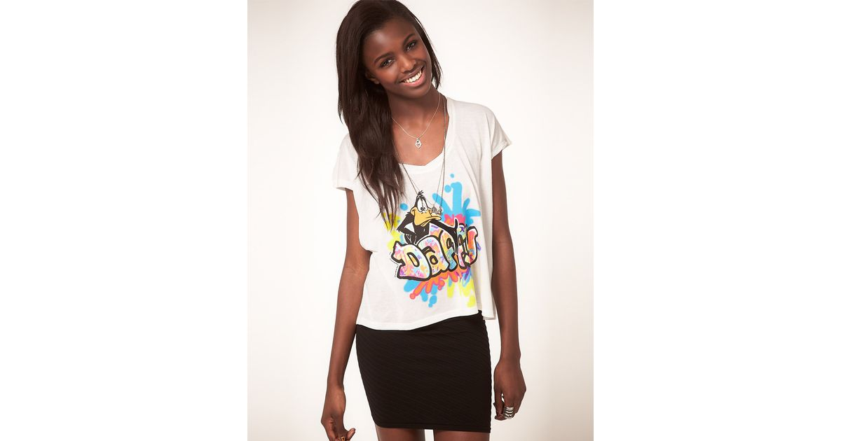Lyst - Junk Food Daffy Duck Tshirt With Graffiti Print in White 5340fc114