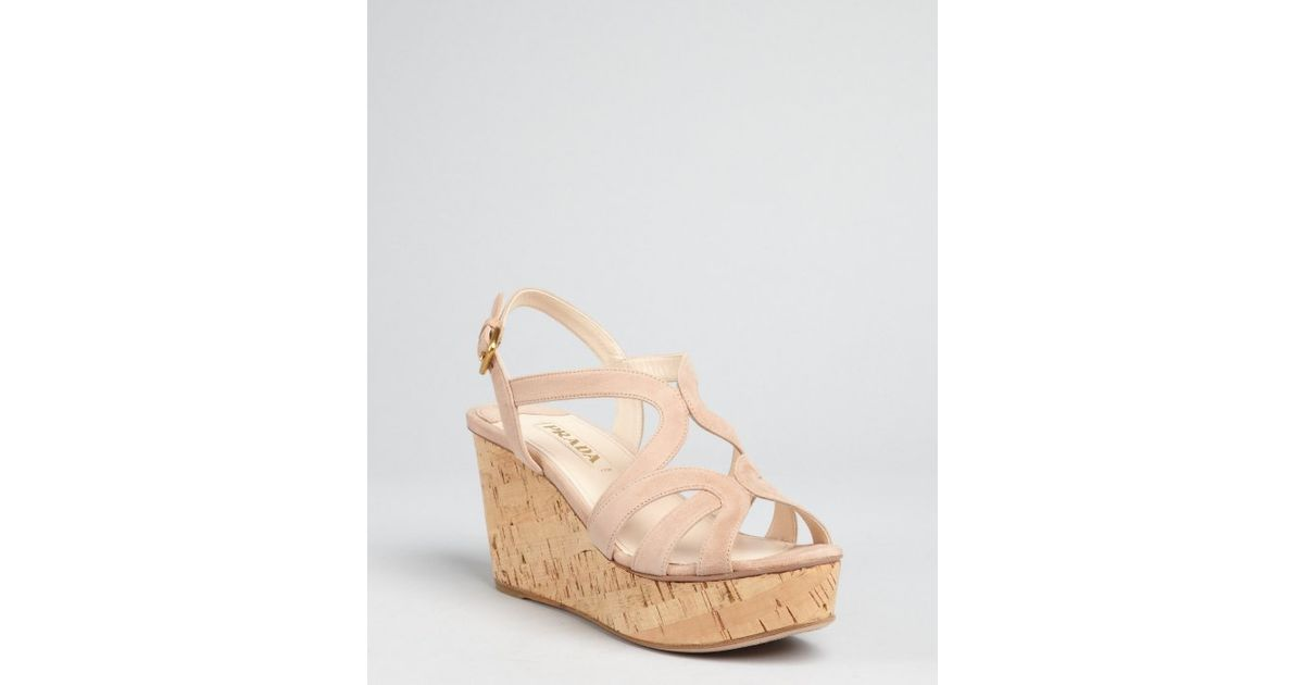 06799ea8543bd Lyst - Prada Nude Suede Strappy Cork Wedge Sandals in Natural