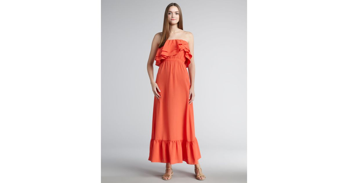 T-bags Strapless Maxi Dress in Orange  Lyst