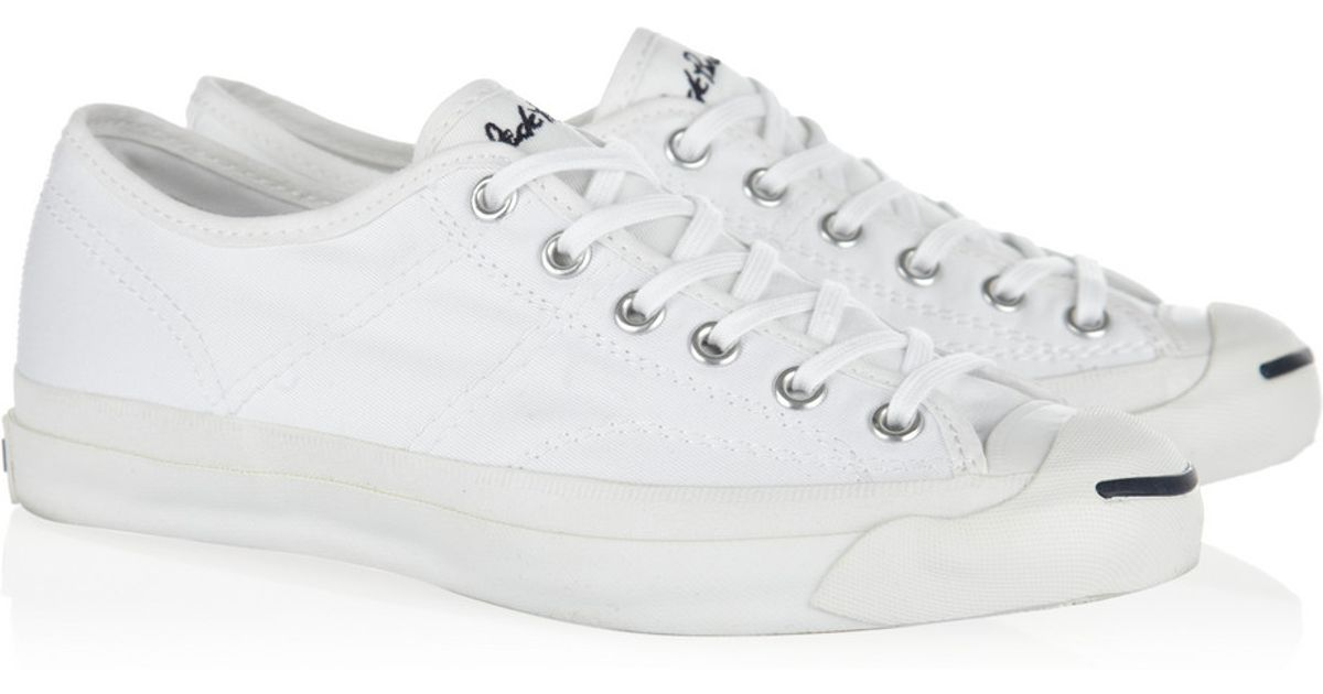 Lyst - Converse Jack Purcell Helen Canvas Sneakers in White 721254d3af44