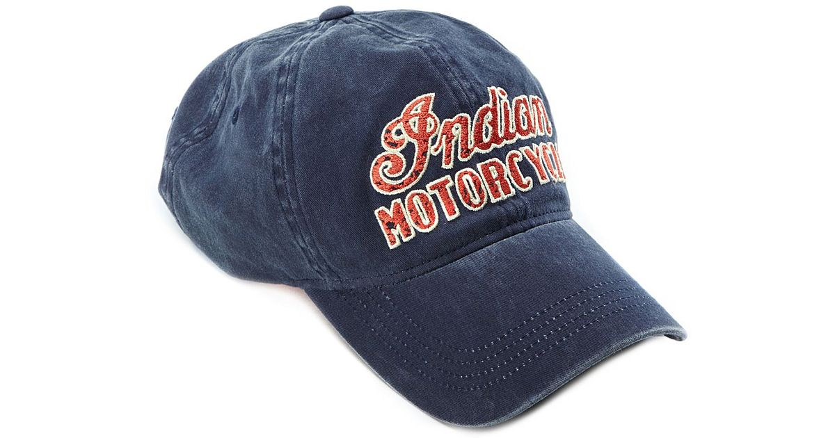 Lucky Brand Indian Motorcycle Baseball Cap In Navy Blue