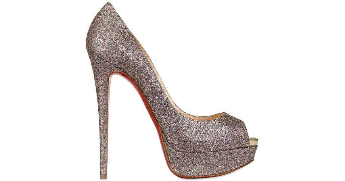 low priced 68a75 a8610 Christian Louboutin Metallic 150mm Lady Peep Glitter Pumps