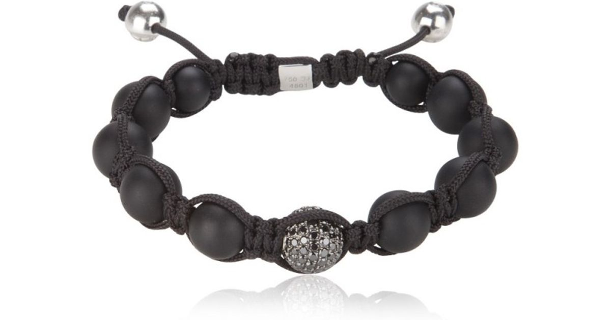 Shamballa Jewels Black Onyx Diamond Bead Bracelet