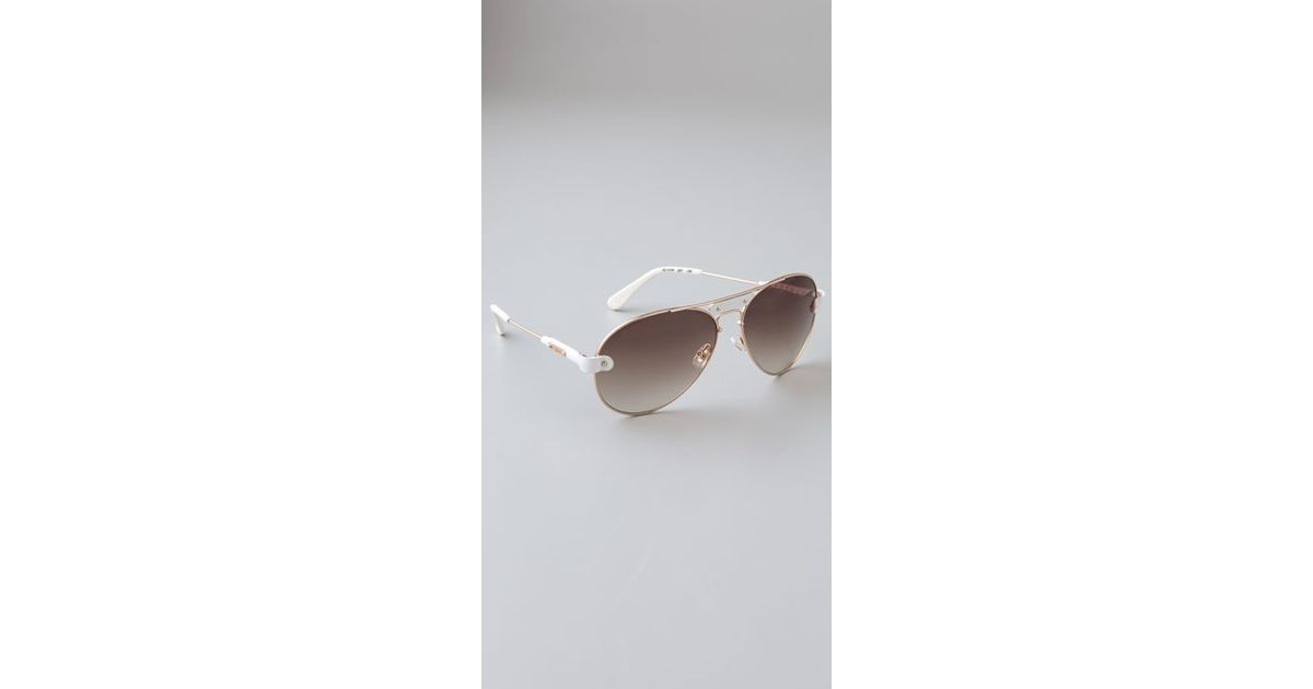 5424923cec36 Lyst - Chloé Oversized Tamaris Aviator Sunglasses with Leather Trim in White