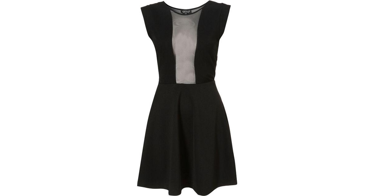 Lyst Topshop Mesh Insert Skater Dress In Black