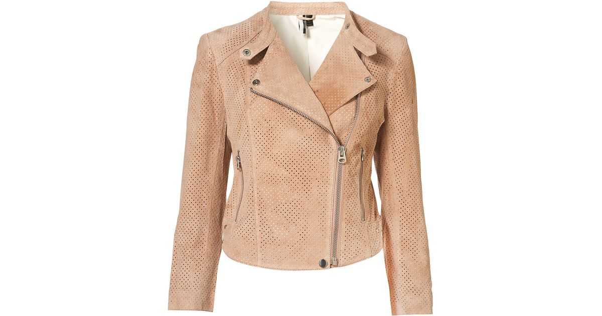 Topshop Perforated Suede Biker Jacket In Orange - Lyst-4224
