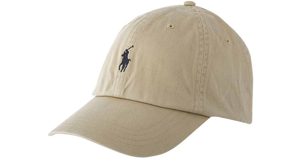 polo ralph lauren logo cap in beige for men stone lyst. Black Bedroom Furniture Sets. Home Design Ideas