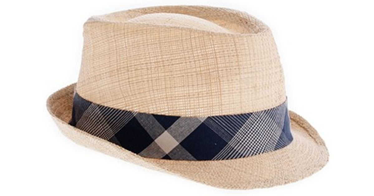3c408c3aebaea Lyst - J.Crew Straw Plaid Trilby Hat in Natural for Men