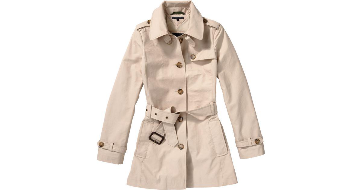 tommy hilfiger heritage short trench coat in natural lyst. Black Bedroom Furniture Sets. Home Design Ideas