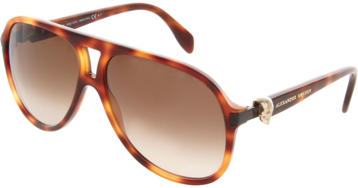 937601a707 Lyst - Alexander McQueen Plastic Skull Aviator Sunglasses in Brown for Men