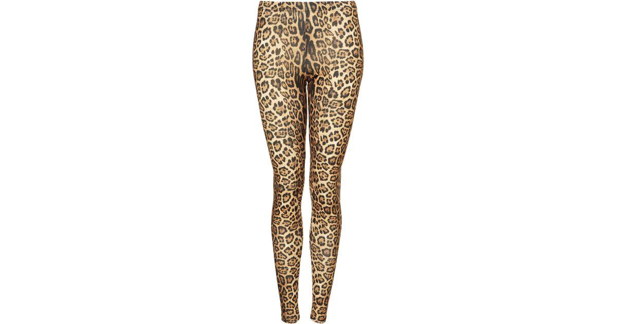 0faa0e6d195a TOPSHOP Leopard Print Leggings in Brown - Lyst