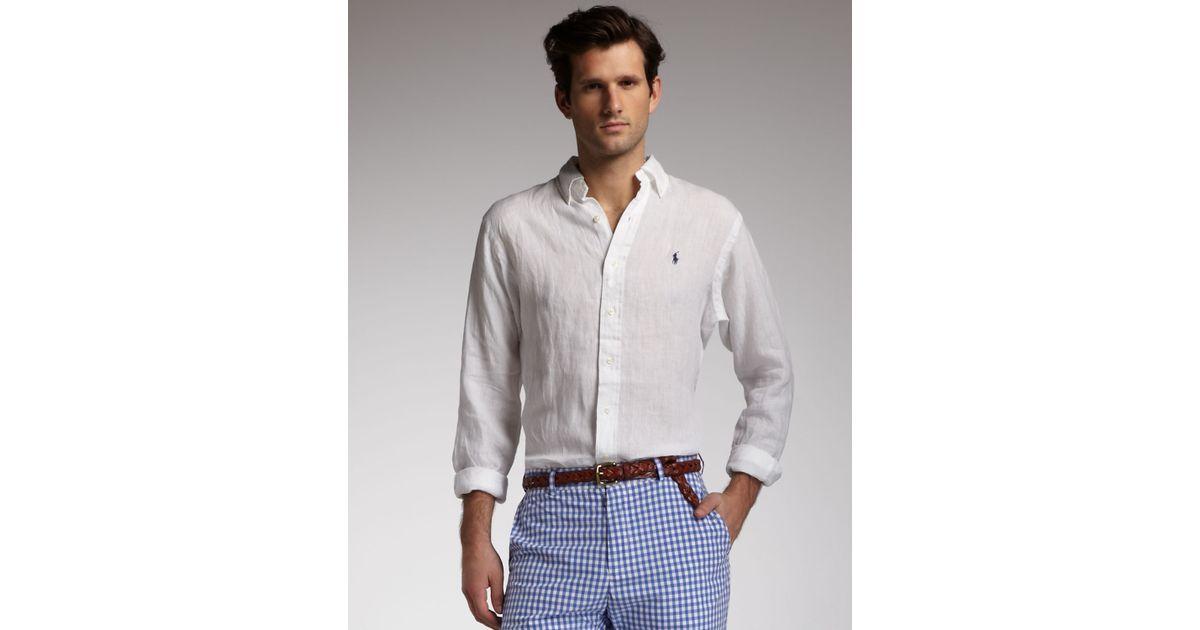 Shirt Polo Linen Ralph Buttondown Lauren White Men For eoxrdCBW