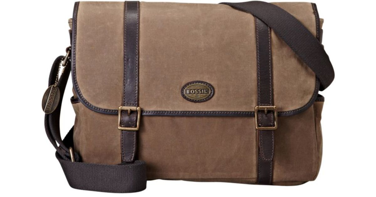 Fossil Estate Waxed Canvas East West Messenger Bag In