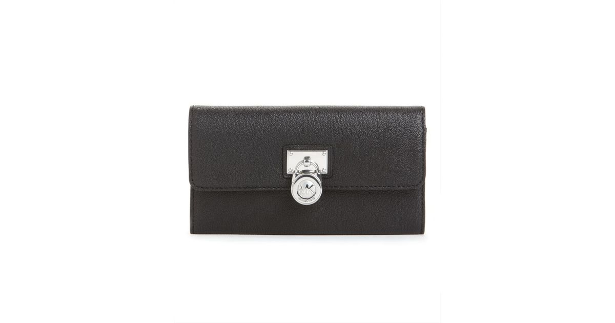 310d80dbdc297 Michael Kors Hamilton Large Flap Wallet in Black - Lyst