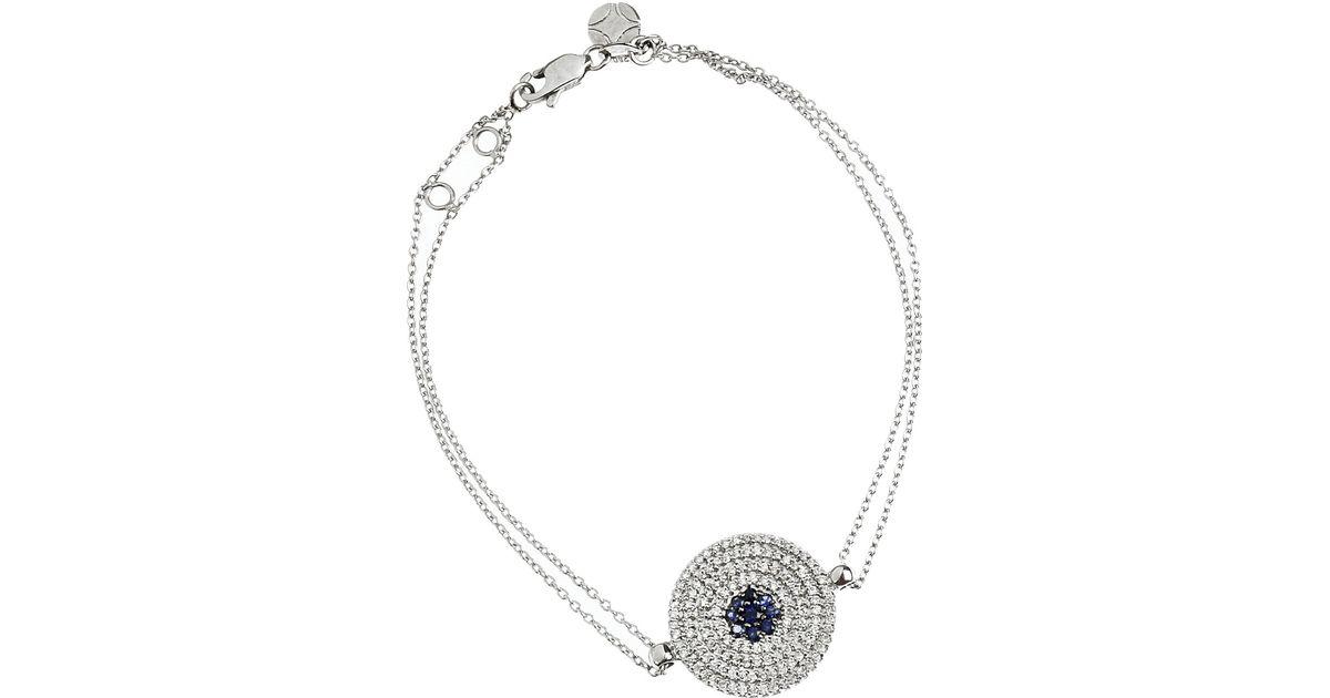 Lyst Vanessa Kandiyoti 18karat White Gold Diamond And Shire Evil Eye Bracelet In Metallic