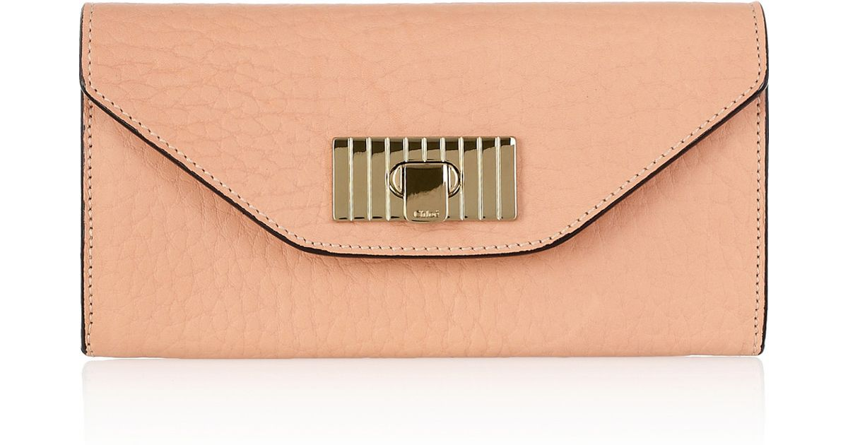 d7904589a1 Chloé - Pink Sally Textured leather Wallet - Lyst