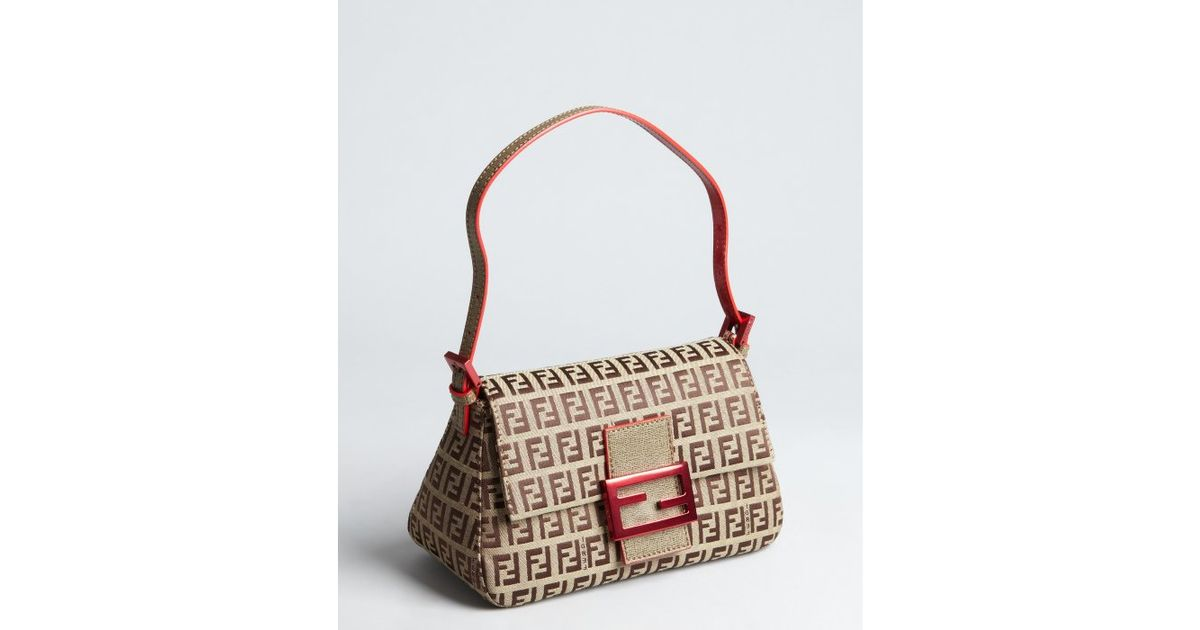 c11a6b5991a ... order lyst fendi beige and red zucchino canvas mama mini shoulder bag in  natural 72457 29a92