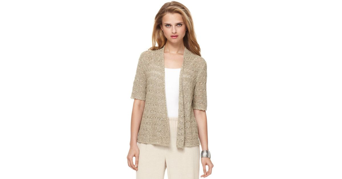 Jones new york Short Sleeve Open Front Cardigan in Natural | Lyst