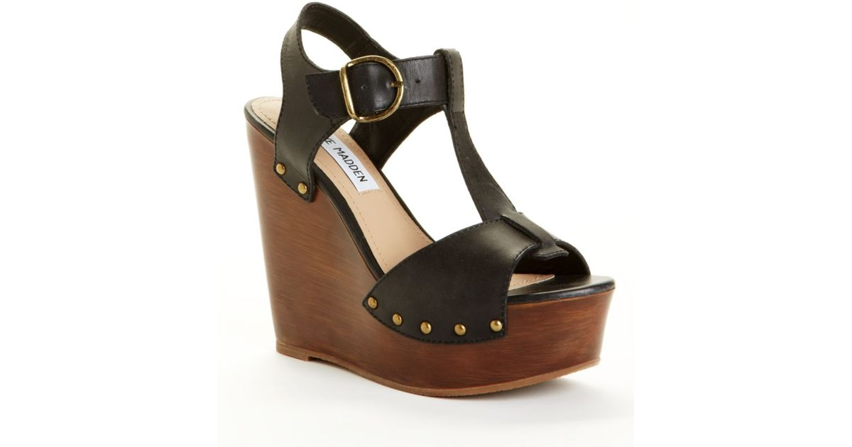 54ad05e71d9 Steve Madden - Black Wyliee Wedge Sandals - Lyst