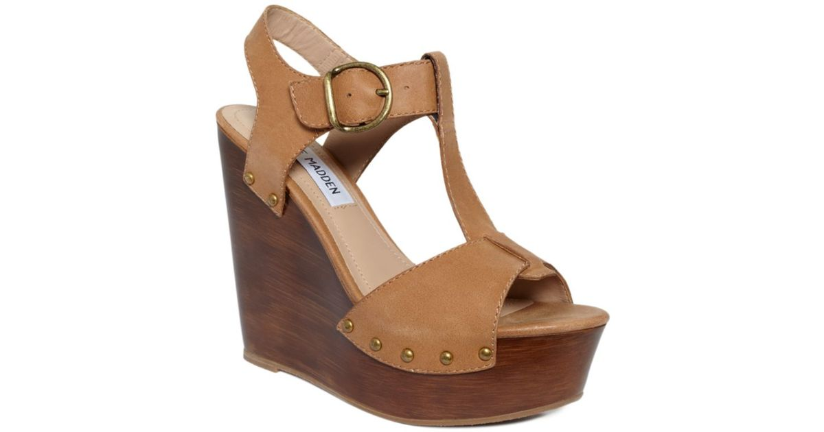 c8dd85e5f40 Steve Madden Brown Wyliee Wedge Sandals