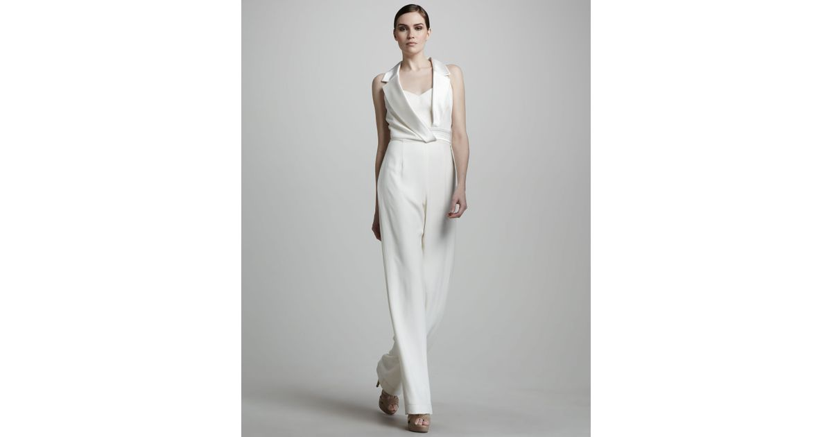 8c023afd3f Lyst - THEIA Sleeveless Silk Jumpsuit in White