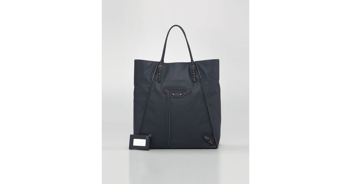 639126a7106d Lyst - Balenciaga Papier Leather Basket Tote Bleu Roi in Blue