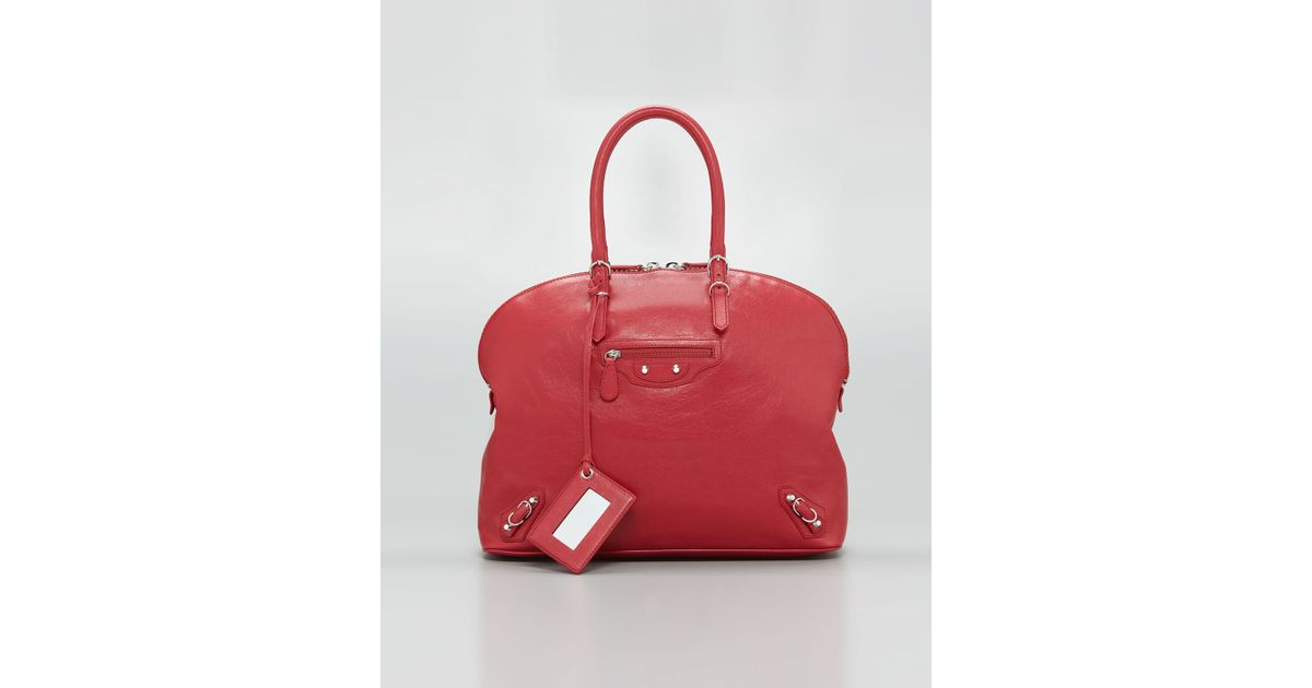 0b7392028c Lyst - Balenciaga Carousel Bowling Bag Rouge in Red