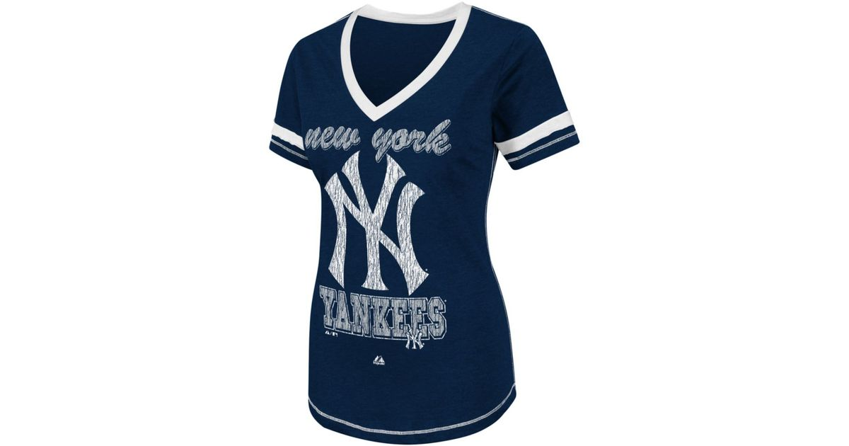 new styles 69987 88692 Majestic Blue New York Yankees Bling Beauty Womens T Shirt