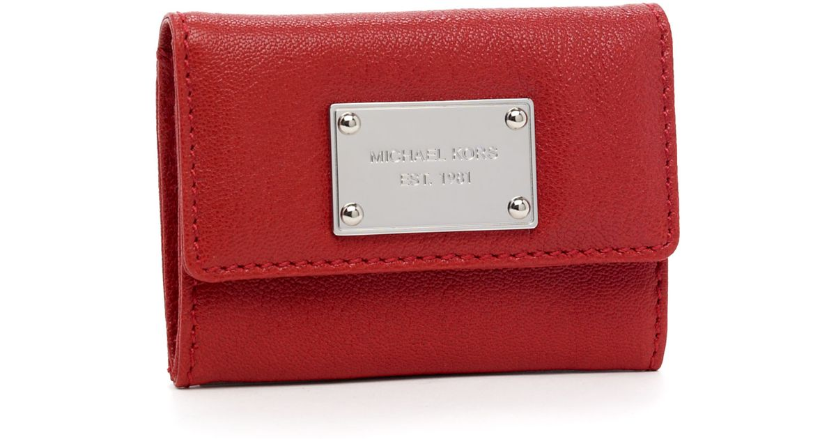 dbf7aca9cad9 Lyst - MICHAEL Michael Kors Jet Set Flap Coin Holder in Red