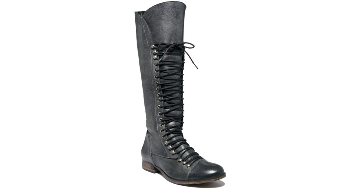 Agotamiento Transeúnte Inscribirse  Steve Madden Perrin Tall Lace-up Military Boots in Black - Lyst