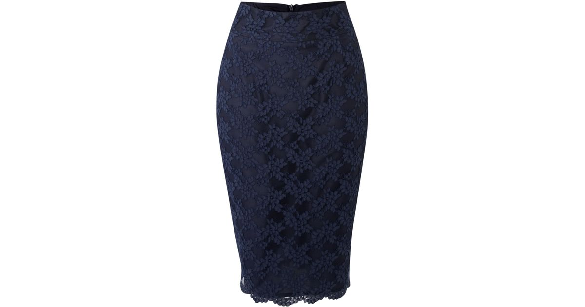untold lace pencil skirt in blue navy lyst