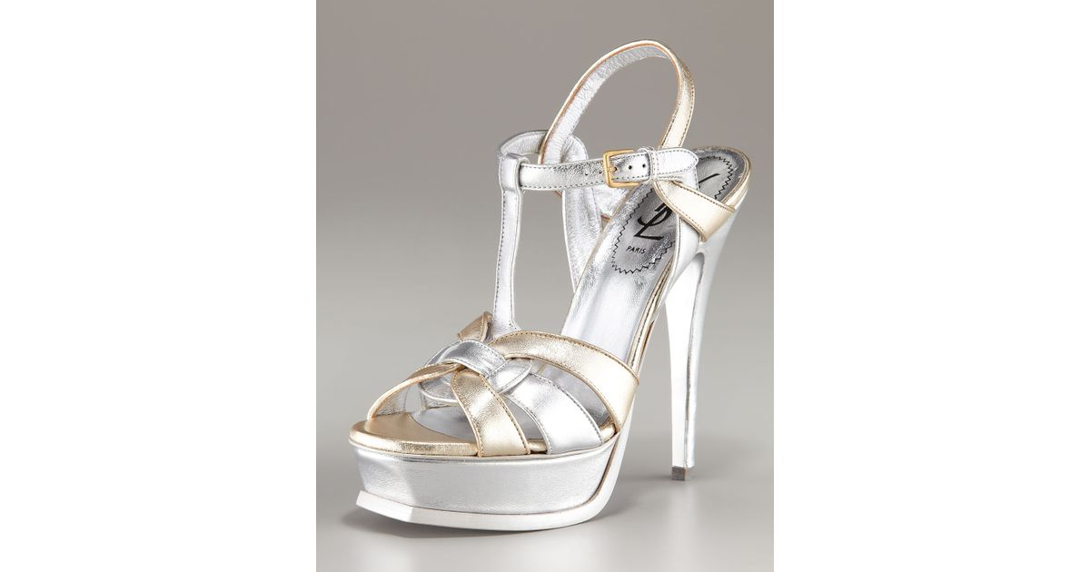 5aa1f71f Saint Laurent Tribute Metallic Platform Sandal