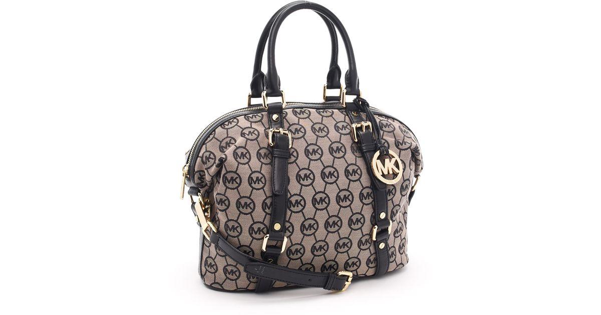 cf0a112f4022 ... sale lyst michael michael kors medium bedford monogram satchel beige  black in black a1231 4e995 ...