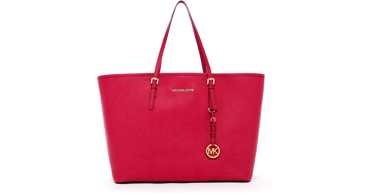 6731473b7073 Lyst - MICHAEL Michael Kors Jet Set Medium Travel Tote Lacquered Pink in  Pink