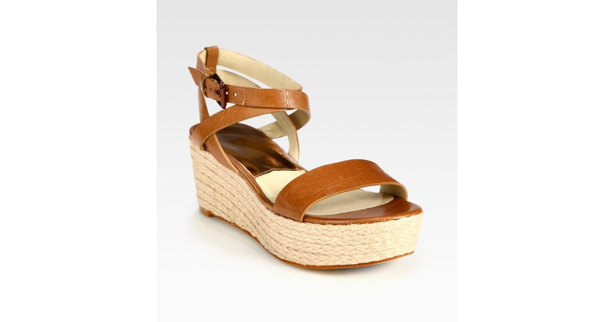 325ed33b258 MICHAEL Michael Kors Natural Jalita Leather Espadrille Wedge Sandals
