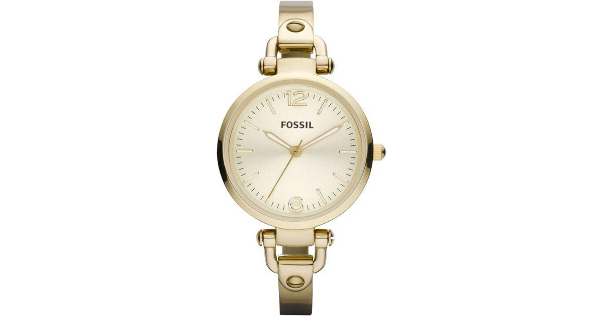 Lyst Fossil Womens Georgia Gold Tone Stainless Steel Bracelet Watch In Metallic