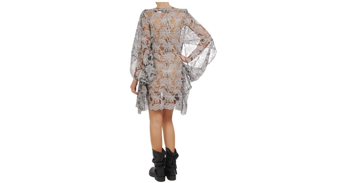Junya Watanabe Gray Handembroidered Lace Dress With Kimono Sleeves