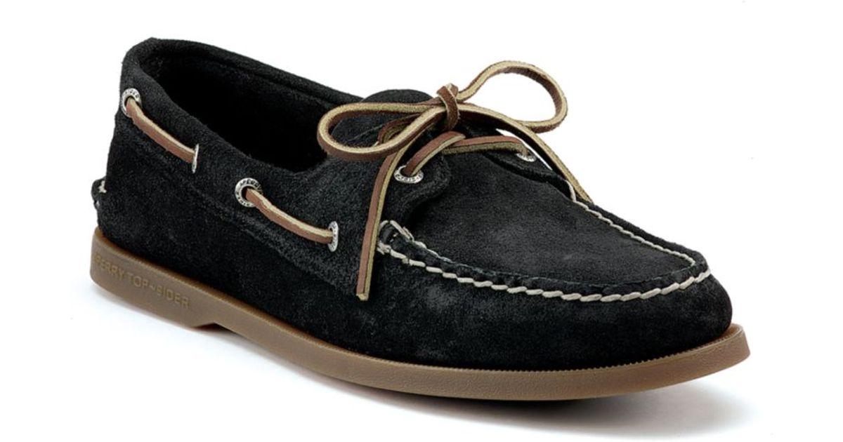 Eye Suede Boat Shoes in Black Suede