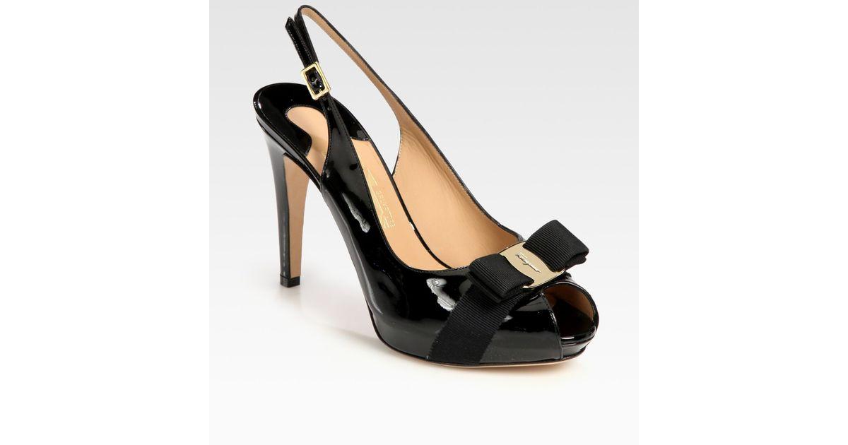 4bbeba6d7ecb9 Ferragamo Black Patent Leather and Grosgrain Ribbon Slingback Peep Toe Bow  Pumps